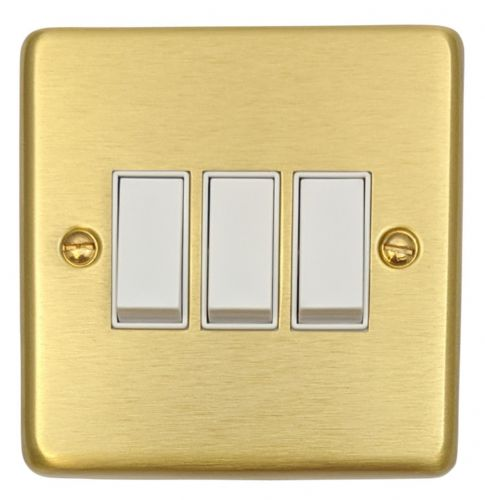 G&H CSB3W Standard Plate Satin Brushed Brass 3 Gang 1 or 2 Way Rocker Light Switch